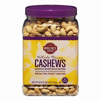 Wellsley Farms Lightly Roasted and Salted Whole Cashews, 40 oz.