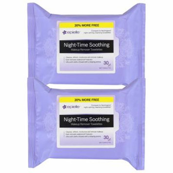 Epielle Night Time Soothing Makeup Remover Tissues, 30ct(2 pack)
