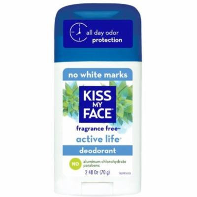 3 Pack - Kiss My Face Natural Active Life Aluminum Free Deodorant Stick, Fragrance Free 2.48 oz