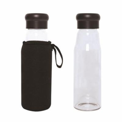 Debco WB9066 Evora 420 ml 14 oz Glass Bottle with Neoprene Sleeve - Black - 12 Pack