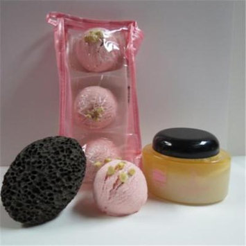 Dead Sea Spa Care DeadSea-BBTAL05 3 Pack Cherry Almond Bubble Bath Truffles, 10 oz Almond Dry Salt Scrub & Pumice Stone