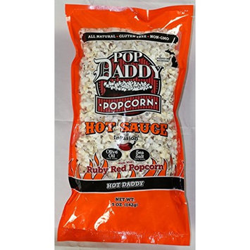 Pop Daddy Popcorn - Hot Sauce Infused - 3 Pack - Infused Olive Oil and Ruby Red Popcorn