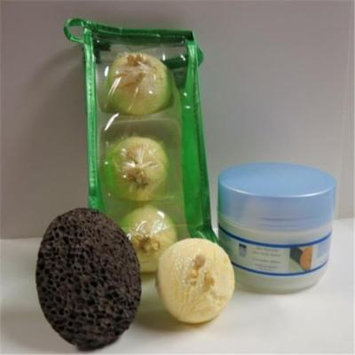Dead Sea Spa Care DeadSea-BBTCocL03 3 Pack Coconut Lime Bubble Bath Truffles, 8 oz Cucumber & Melon Shea Body Butter & Pumice Stone
