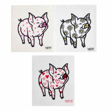 Wet-It Daisy Pig, Heart Pig & Polka Dot Pig Swedish Kitchen Bathroom Dishcloths 3 Pack