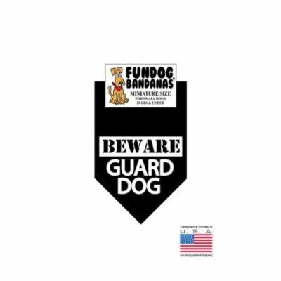 MINI Fun Dog Bandana - BEWARE Guard Dog - Miniature Size for Small Dogs under 20 lbs, black pet scarf