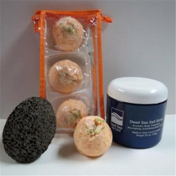 Dead Sea Spa Care DeadSea-BBTGP02 3 Pack Georgia Peach Bubble Bath Truffles, 24 oz Almond Salt Scrub & Pumice Stone