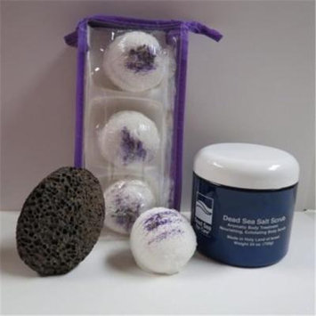 Dead Sea Spa Care DeadSea-BBTLP05 3 Pack Lavender Pomegranates Bubble Bath Truffles, 24 oz Pomegranate Dry Salt Scrub & Pumice Stone