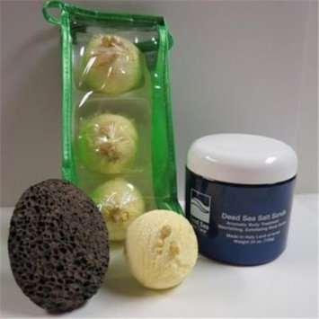 Dead Sea Spa Care DeadSea-BBTCocL04 3 Pack Coconut Lime Bubble Bath Truffles, 24 oz Cucumber & Melon Dry Salt Scrub & Pumice Stone