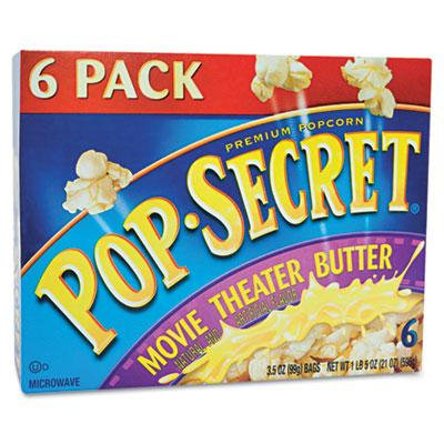 Microwave Popcorn, Movie Theater Butter, 3.5oz Bags, 6/Box, Sold as 1 Box, 6 Each per Box