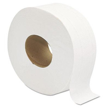 Jumbo JRT Bath Tissue, 2-Ply, White, 9 in Diameter, Sold as 1 Carton, 12 Roll per Carton