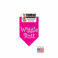 MINI Fun Dog Bandana - Wiggle Butt - Miniature Size for Small Dogs under 20 lbs, hot pink pet scarf