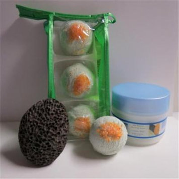 Dead Sea Spa Care DeadSea-BBTCM04 3 Pack Cucumber & Melon Bubble Bath Truffles, 8 oz Cucumber & Melon Shea Body Butter & Pumice Stone