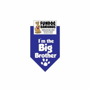 MINI Fun Dog Bandana - I'm the Big Brother - Miniature Size for Small Dogs under 20 lbs, royal blue pet scarf