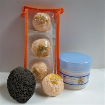 Dead Sea Spa Care DeadSea-BBTMM03 3 Pack Mango Mandarin Bubble Bath Truffles, 8 oz Almond Shea Body Butter & Pumice Stone