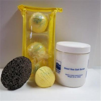 Dead Sea Spa Care DeadSea-BBTLV05 3 Pack Lemmon Verbena Bubble Bath Truffles, 32 oz Serenity Dry Salt Scrub & Pumice Stone