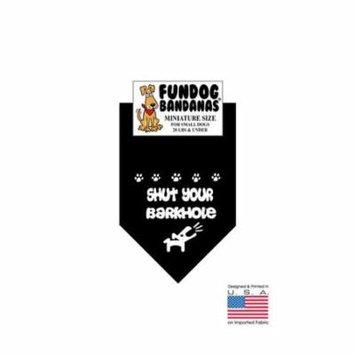 MINI Fun Dog Bandana - SHUT YOUR BARKHOLE - Miniature Size for Small Dogs under 20 lbs, black pet scarf