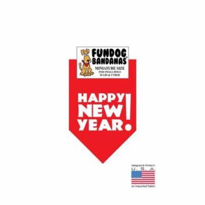 MINI Fun Dog Bandana - Happy New Year! - Miniature Size for Small Dogs under 20 lbs, black pet scarf
