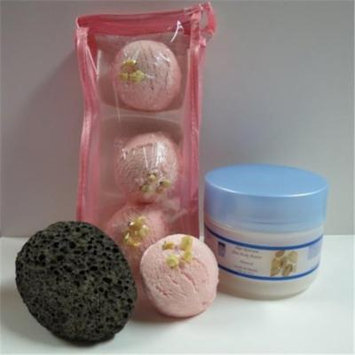 Dead Sea Spa Care DeadSea-BBTAL03 3 Pack Cherry Almond Bubble Bath Truffles, 8 oz Almond Shea Body Butter & Pumice Stone