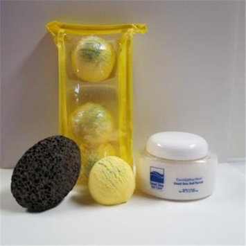 Dead Sea Spa Care DeadSea-BBTLV04 3 Pack Lemmon Verbena Bubble Bath Truffles, 10 oz Eucalyptus Mint Salt Scrub & Pumice Stone