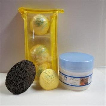 Dead Sea Spa Care DeadSea-BBTLV02 3 Pack Lemmon Verbena Bubble Bath Truffles, 8 oz Serenity Shea Butter & Pumice Stone