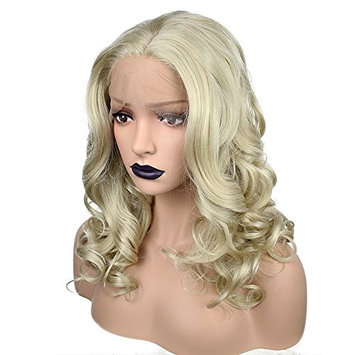 Anogol Hair Cap+Blonde Front Lace Wig Middle Part Synthetic Fiber Hair Replacement Wigs Shoulder Length Curly Hairstyles For Part