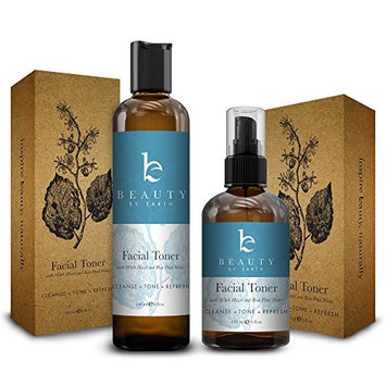 Facial Toner with Organic and Natural Witch Hazel Rose Water Astringent - Best Hydrating and Clarifying Face Spray for Daily Use, No Alcohol or Oil, Skin Cleansing for Men and Women