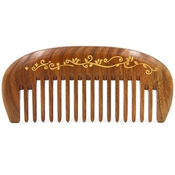 Handmade Natural Green Sandalwood Wide Tooth Massage hair Comb, No Static Pocket Wooden Comb 4.7