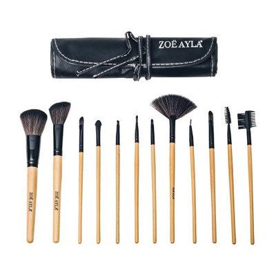 Zoe Ayla 12 Piece Professional Make-Up Brush Set with Handy Vegan Leather Travel Case - Wood