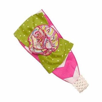 Sophias Style Exclusive Girls Harper Pink White Chevron Green Dot Stretch Headband
