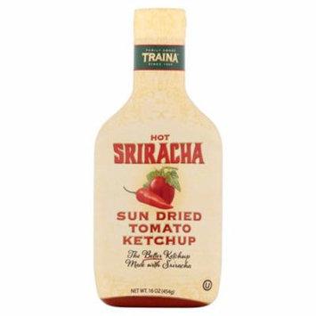 Traina Hot Sriracha Sun Dried Tomato Ketchup, 16 oz, (Pack of 6)