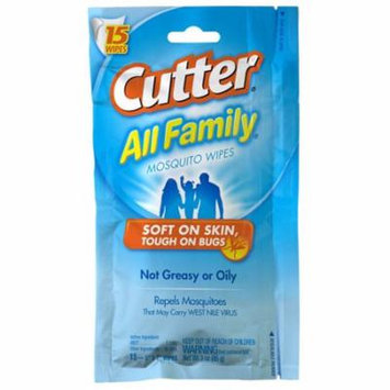 Cutter All Family Insect Repellent Mosquito Wipes - 15 Ea