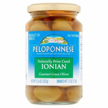 Peloponnese Naturally Brine Cured Ionian Gourmet Green Olives, 12.6 oz, 6 pack