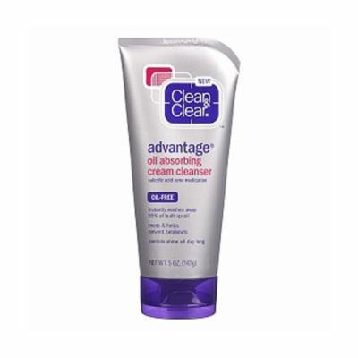 Clean And Clear Advantage Oil-Absorbing Cream Cleanser - 5 Oz, 2 Pack