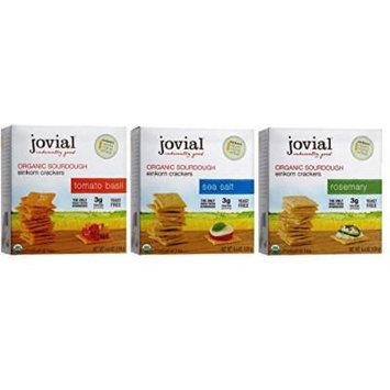 Jovial Organic Sourdough Einkorn Crackers 3 Flavor Variety Bundle, (1) Each: Tomato Basil, Rosemary, and Sea Salt, 4.5 Ounces