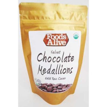 Foods Alive Chocolate Gluten-Free Medallions, 66% Raw Cacao pack of 3