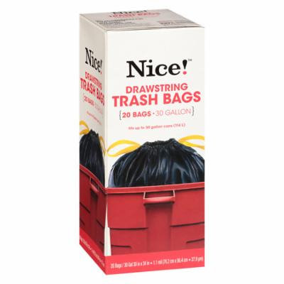 Nice! Drawstring Trash Bags 30 Gallon 20.0 ea (Pack of 12)