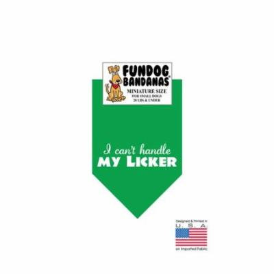 MINI Fun Dog Bandana - I can't handle my LICKER - Miniature Size for Small Dogs under 20 lbs, kelly green pet scarf