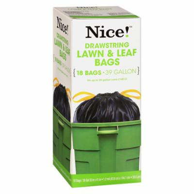 Nice! Drawstring Large Trash Bags 39 Gallon 18.0 ea (Pack of 12)