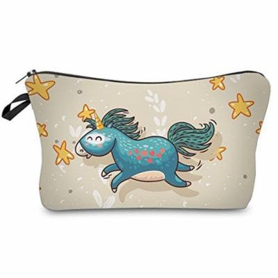 StylesILove Happy Unicorn Pouch Travel Case Makeup Bag (Beige)