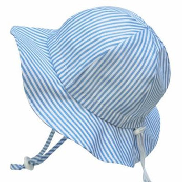 Toddler Sun Hat, Size Adjustable, 50+ UPF Cotton(M: 6m - 3Y, Blue stripes)