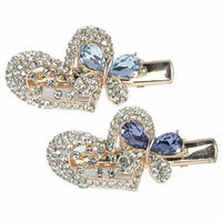 Jeweled Heart & Butterfly Hair Clips Gold Metal with Decorative Purple & Blue Rhinestone Crystals - Set of 2