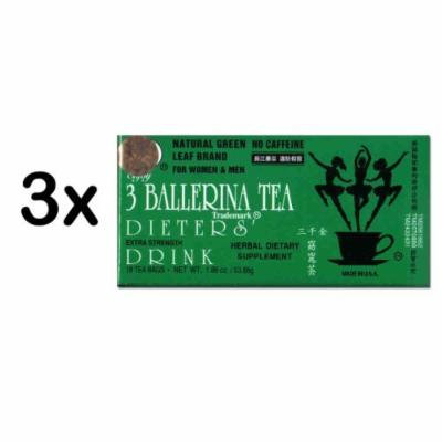 3 Ballerina Diet Tea Extra Strength for Men and Women (3 Boxes x 18 Bags) by 3 Ballerina