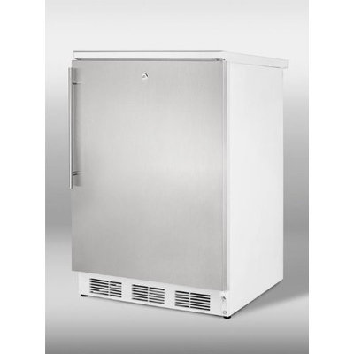 SUMMIT Freestanding all-refrigerator with auto defrost, stainless steel door, thin handle, and lock