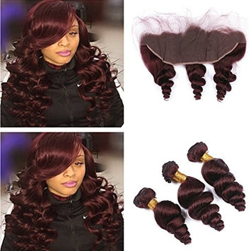 RUMA HAIR Burgundy Brazilian Loose Wave Virgin Hair 3 Bundles With 13x4'' Lace Frontal Closure #99J Wine Red Wavy Human Hair Weave With Ear to Ear Full Lace Frontals (16+16 16 16 )