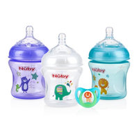 Luv N Care Nuby Natural Touch Tinted 3pk 6oz Bottles with Slow Flow Nipple, with Printed Pacifier, Neutral Assortment