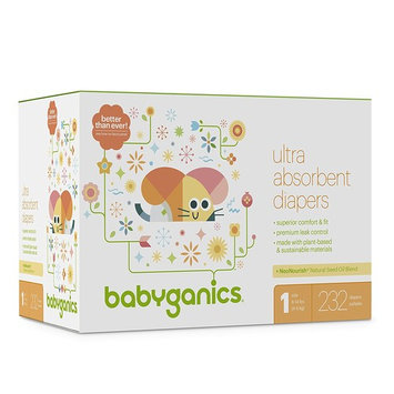 Babyganics Ultra Absorbent Diapers, Size 1, 232 Count [232]