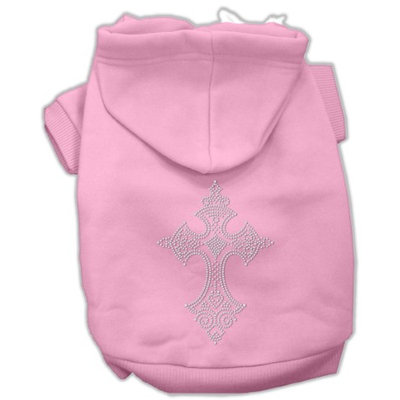 Mirage Pet Products 5422 XXLPK Rhinestone Cross Hoodies Pink XXL 18