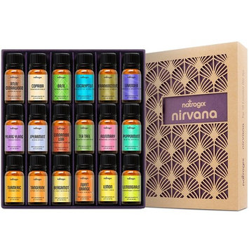 Natrogix Nirvana Essential Oils - Top 18 Essential Oils Set 100% Pure Therapeutic Grade 18/10ml Incl. Lavender, Moroccan Rosemary, Tea Tree, Eucalyptus, Lemongrass and 13 More w/ Free E-Book