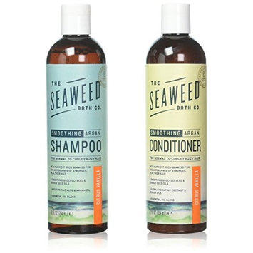 Seaweed Bath Company Smoothing Citrus All Natural Shampoo and Conditioner Bundle With Organic Bladderwrack Seaweed, Aloe Vera, Argan Oil and Vitamin E, 12 fl. oz. each