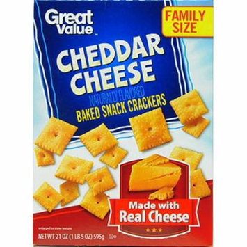 Great Value Cheddar Cheese Baked Snack Crackers, 21 oz